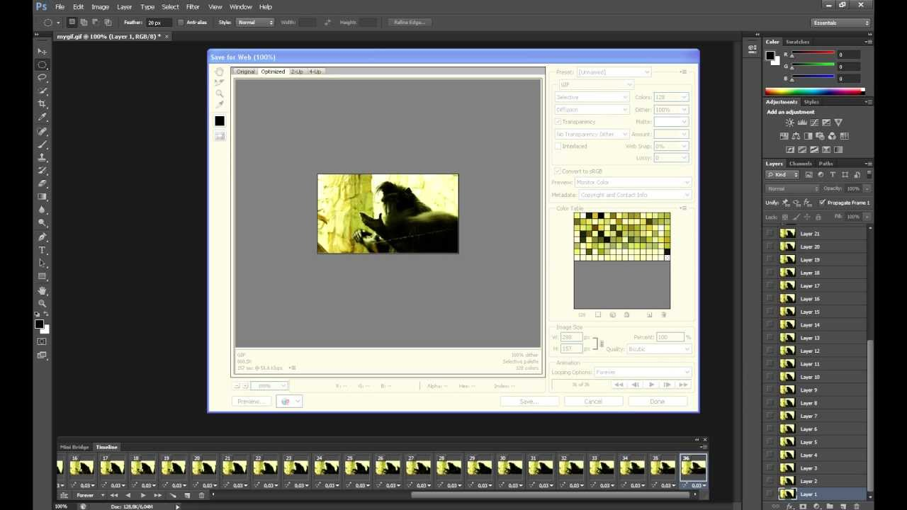 How to reduce GIF size under 1 MB (Tumblr) - Photoshop CS6 - YouTube