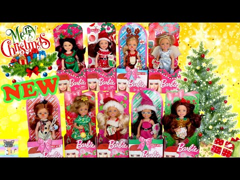 Toy Unboxing Christmas Holiday Barbie Chelsea Dolls! 🎄🎁 - Santa Elf Angel Snowman Xmas Tree & More!