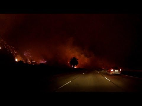 Ventura County Thomas Fire Jumps 101 Freeway And Causes Sudden Loss Of Visibility (Dashcam Footage)