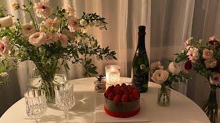 1주년 결혼기념일 플라워데코, 셀프기념사진
