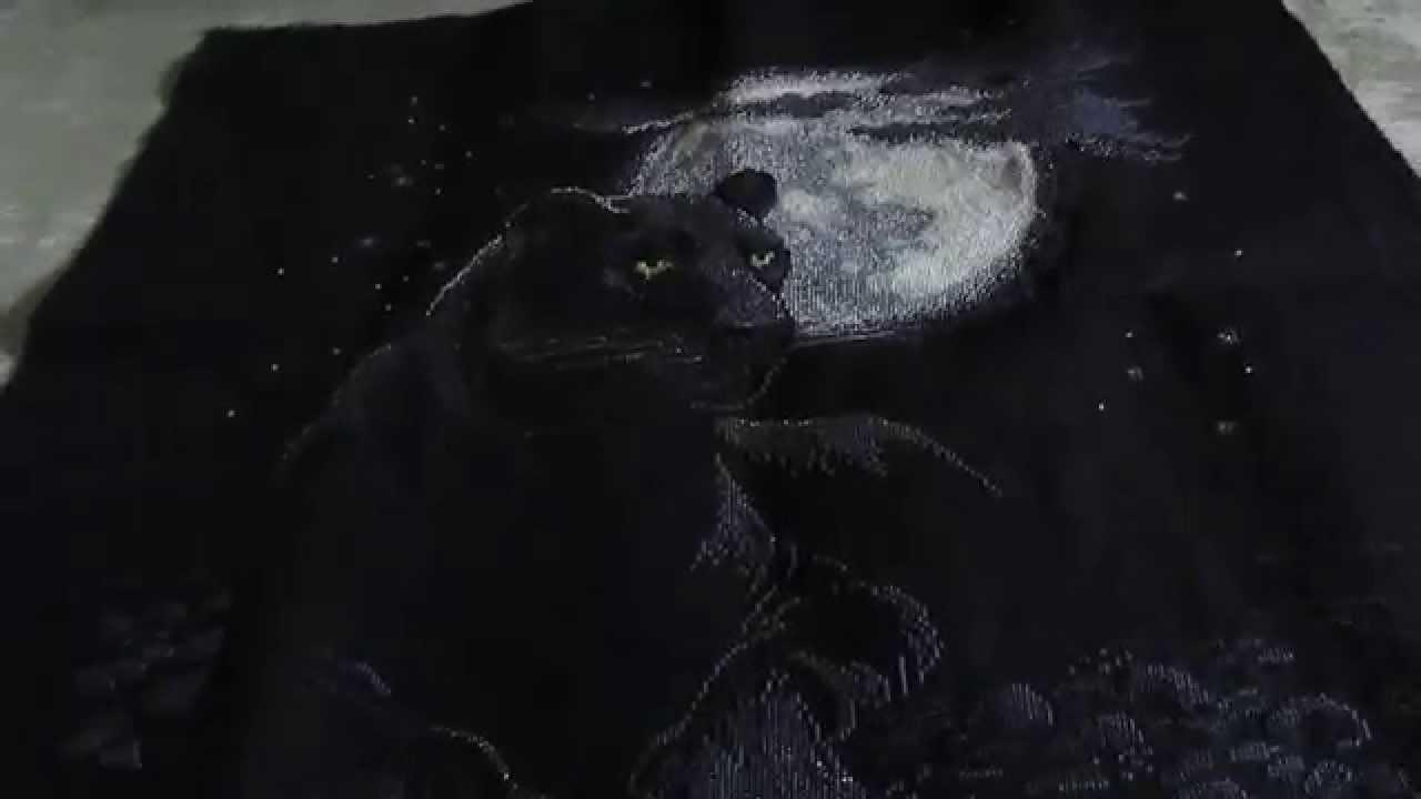 Вышивка полнолуние пантера