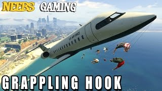 GRAPPLING HOOK MOD -  Funny Moments - GTA 5 Gameplay Video