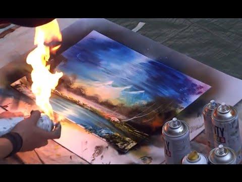 Amazing Spray Paint Art: Fire Technique!