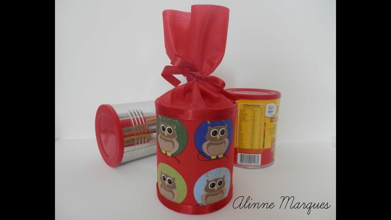 Armario Segunda Mano Tenerife ~ Reciclando latas para lembrancinha de festa Artesanato Passo a passo YouTube