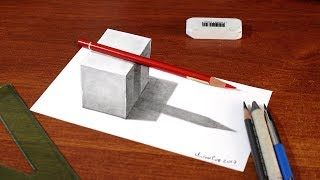 Easy Drawing - How to Draw a 3D Cube with Shadow - 3D Trick Art on Paper for Kids