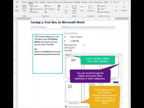 Save a Text Box to the Text Boxes Gallery in Microsoft Word