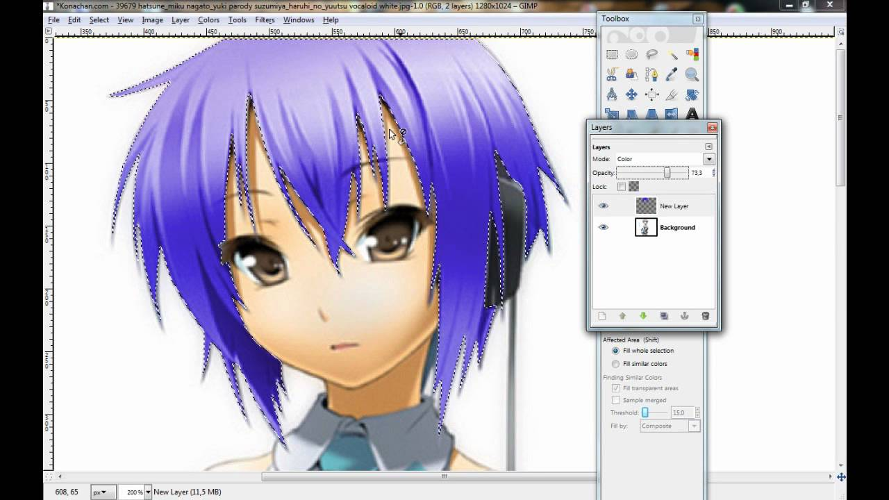 gimp tutorial - how to change the hair color - youtube
