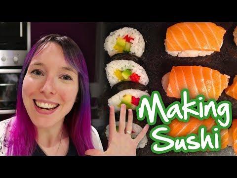 How to Make Sushi at Home - (Vegetarian & Fish Sushi Recipe/Tutorial)