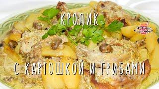 кролик с картошкой и грибами в сметано-горчичном соусе запечённый в духовке в рукаве Простой рецепт