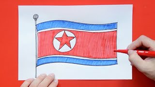 How to draw and color National Flag of North Korea
