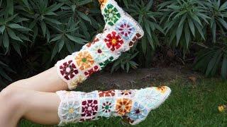 Сапоги из квадратных мотивов крючком / Square crochet boots