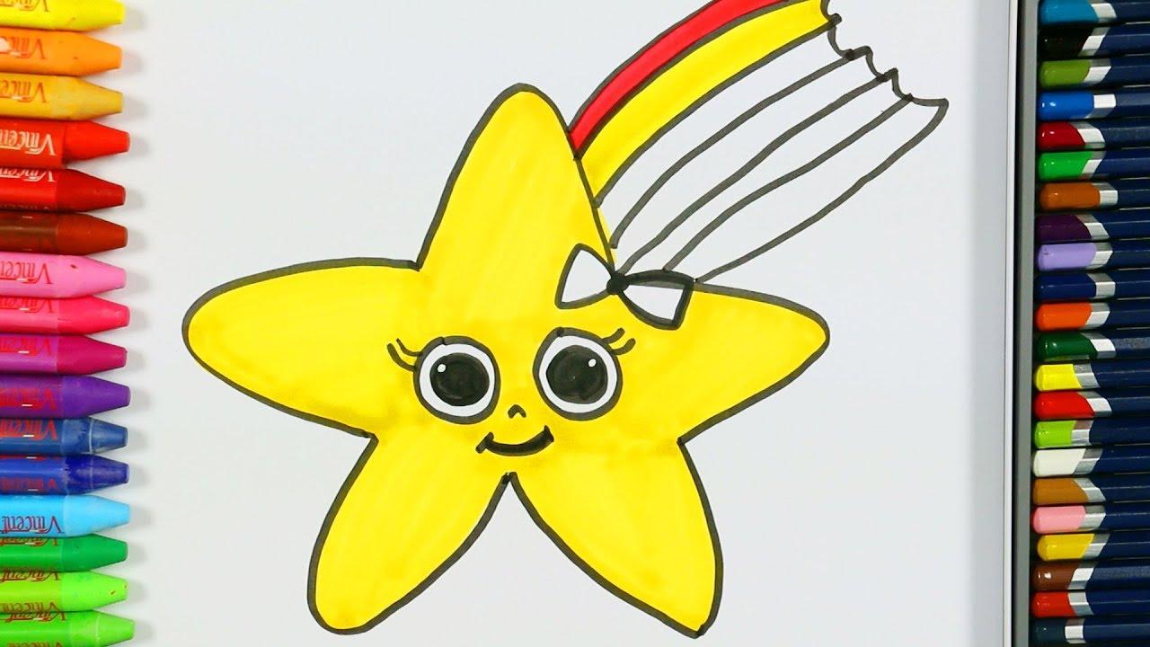 Stern Malvorlagen ⭐ | Wie zeichne | Malbücher | Farben für Kinder ...