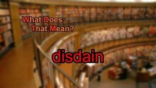 What does disdain mean?