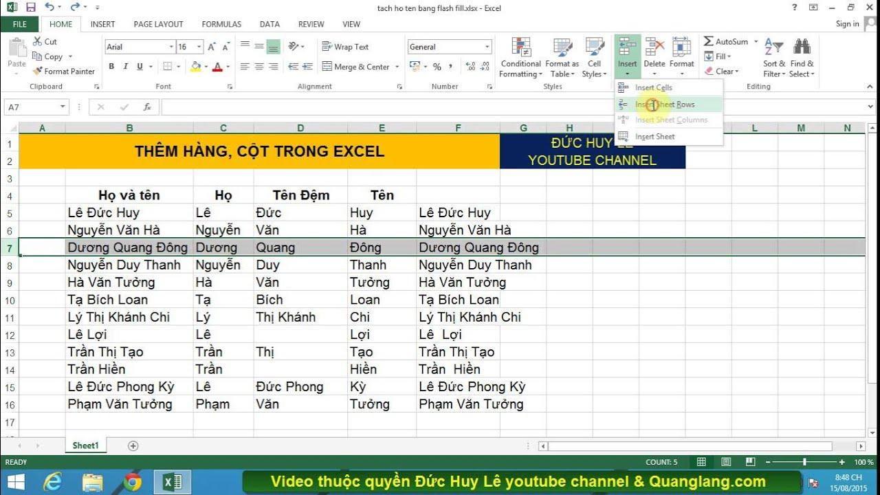 Cách chèn thêm hàng, thêm cột trong Excel