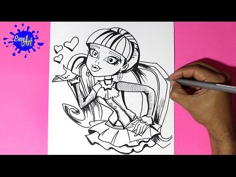 Como Dibujar una Moster high - Como Dibujar a Draculaura 1 - How to draw draculaura