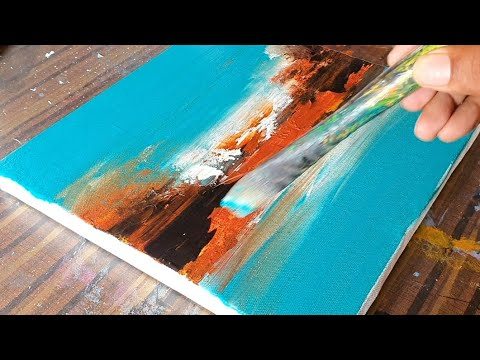 Easy Abstract Landscape Painting Demo / Acrylics / Relaxing / Daily Art Therapy / Day #0254