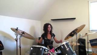 The Outfield Talk to Me ~ Drum Cover by Denise ( front view )