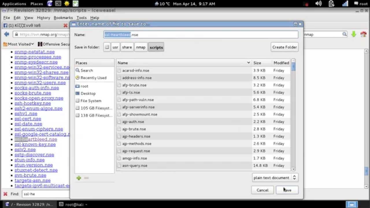 nmap scan vulnerable -- ssl heartbeat --Kali Linux