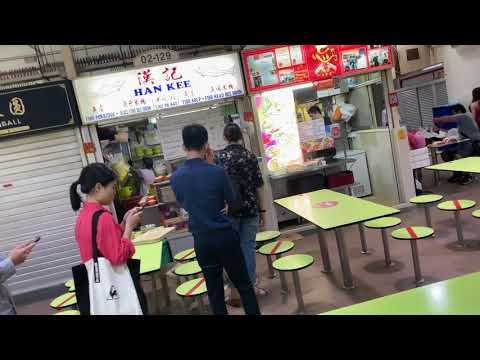 Long Queue At Amoy Street Hawker Center For Fish Soup Seats Marked Out