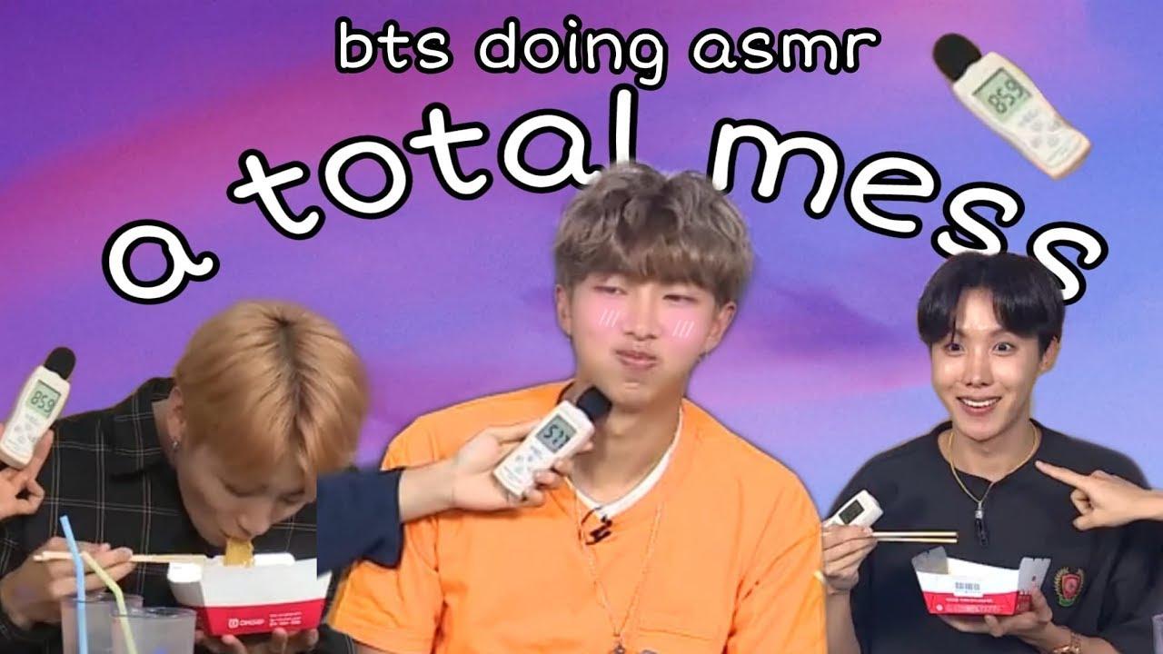 bts doing ramen asmr: a mess