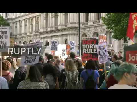 LIVE: Protesters gather outside Downing Street to demand Theresa May's resignation