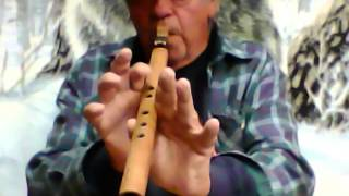 BILLY BRONCO PLAYS a Native American Kiowa Love Flute Sample made of 100yr old Churchwood