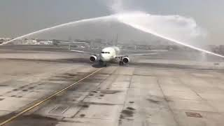 بالفيديو.. مطار دبي يستقبل طائرة سعودية بتحية خاصة بمناسبة اليوم الوطني - صحيفة صدى الالكترونية