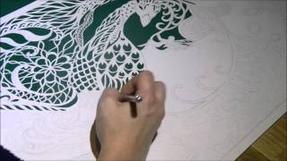 Dream Bird - Cutting a paper cut piece