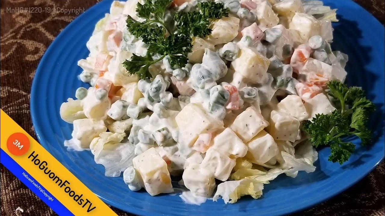 """Cách làm """"Salad Nga Mayonnaise Rau Củ """"cực nhanh trong ít phút -MonngonHoGuom."""