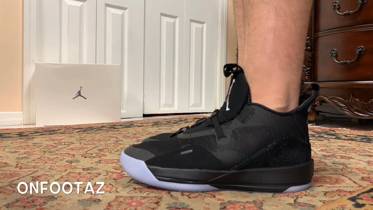 uk cheap sale buy official store Air Jordan 33 XXXIII Utility Blackout On Foot - YouTube