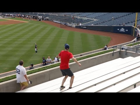 Getting hit in the face with a home run at Yankee Stadium