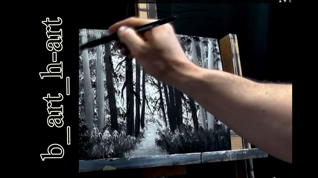 Malen Mit Acrylfarben Waldlandschaft In Wenigen Minuten 1 0 Youtube