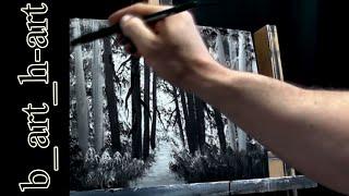 Malen mit Acrylfarben - Waldlandschaft  in wenigen Minuten