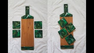 [14] Green resin serving board and matching coaster set. Including tips on when to take the tape off