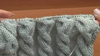 Шапка с косами и помпоном Урок 56 часть 2 из 2 Вязание спицами