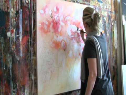 floral painting with acrylic colors demo blumen malen in. Black Bedroom Furniture Sets. Home Design Ideas