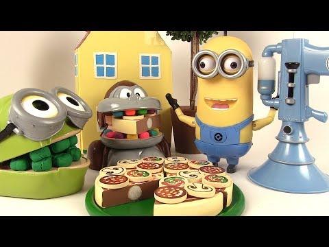 Shrek et le Singe Mangent de la Pizza en bois à découper avec le Minion Parlant