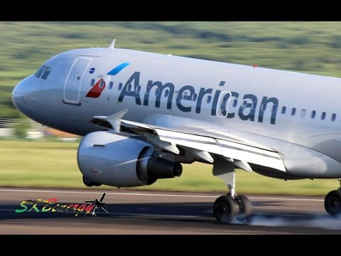 American Airlines A319 and 737-800 action @ St Kitts (HD 1080p)
