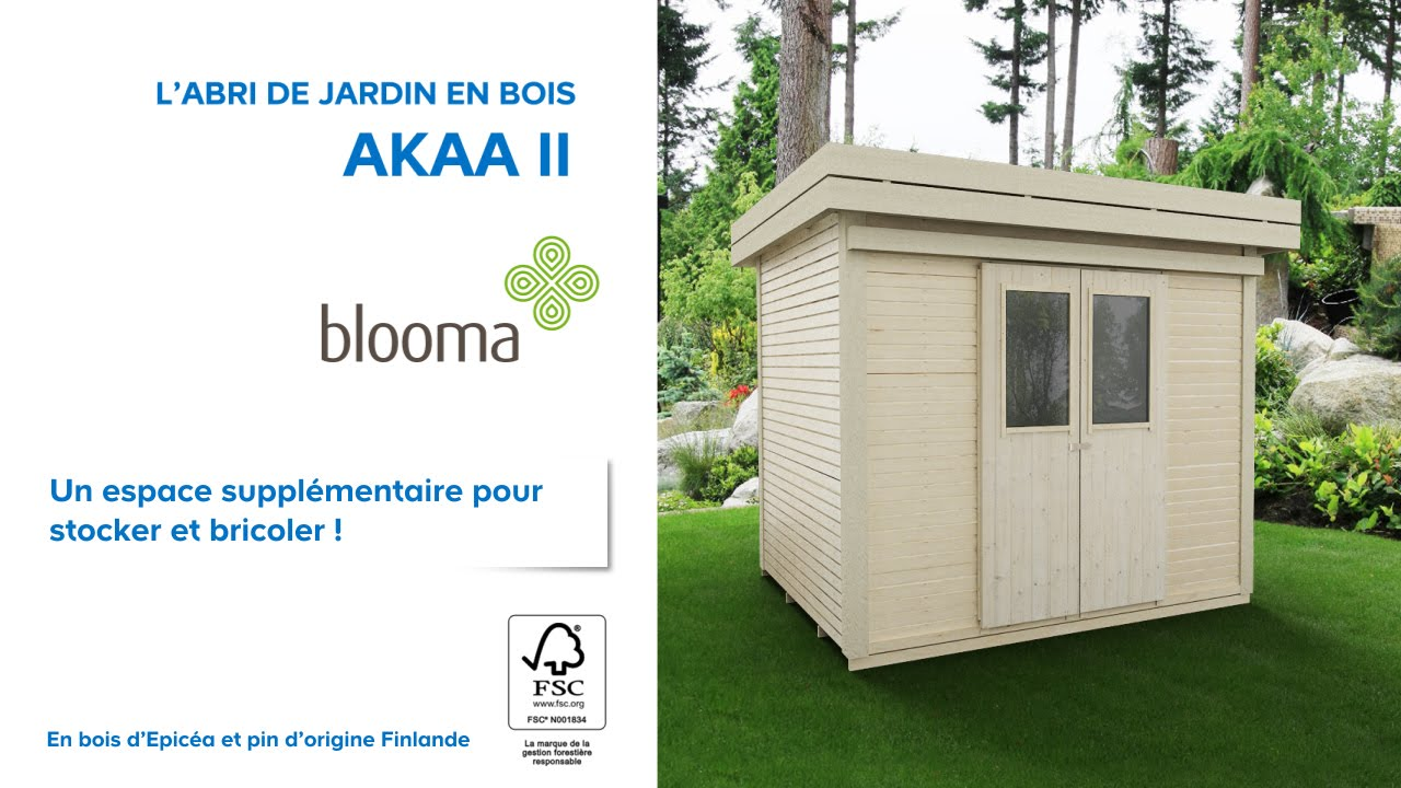 abri de jardin en bois akaa blooma 676229 castorama youtube. Black Bedroom Furniture Sets. Home Design Ideas