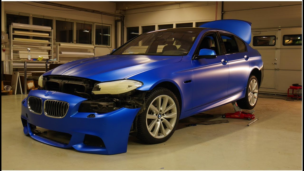 Car Wrapping Bmw F10 M550d 3m Satin Perfect Blue Youtube