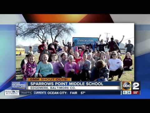 Sparrows Point Middle School students give a Good Morning Maryland shout-out
