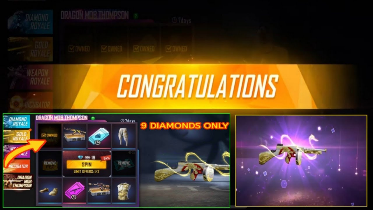 Dragon Mob Thompson Faded Wheel Event in Free Fire