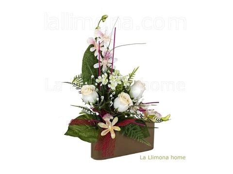 Arreglos florales artificiales jardinera cer mica rosas for Centros de mesa artificiales