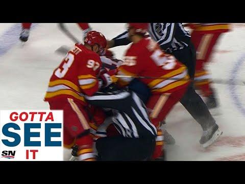 GOTTA SEE IT: Zack Kassian Goes After Matthew Tkachuk Causing Another Oilers, Flames Brawl