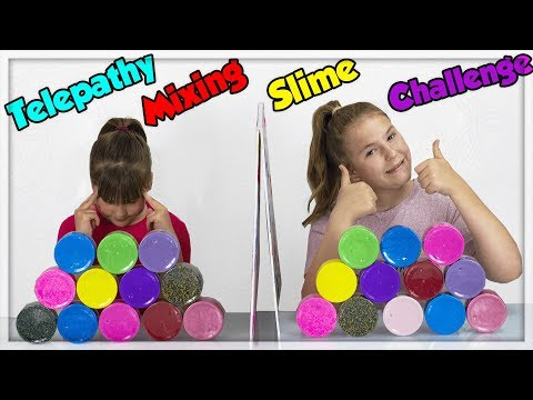 TWIN TELEPATHY MIXING SLIME CHALLENGE ! ADDING TOO MUCH SLIME