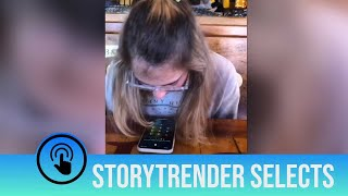 Girl unlocks her phone... with spit