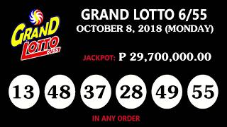 PCSO Lotto Result October 8, 2018 (Monday) - PCSO LOTTO TODAY