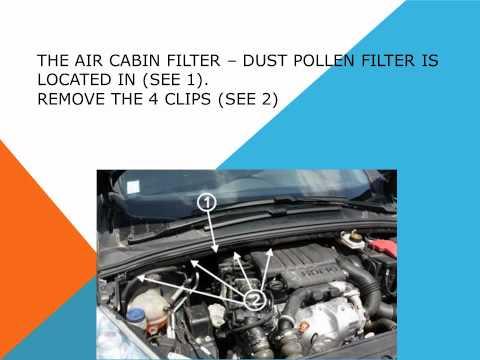 Peugeot 308 3008 Pollen Cabin Filter Change Replacement