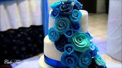 Wedding Cake Cascaded Roses in shades of blue