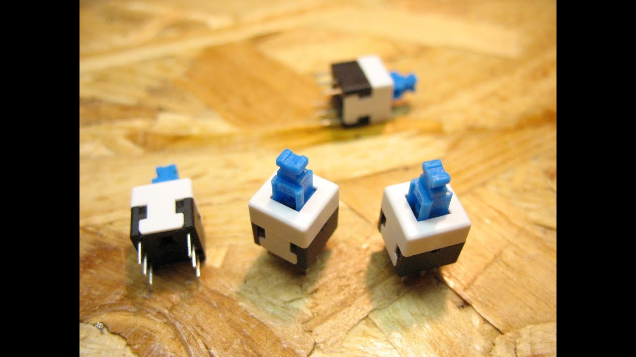 8x8 mm Blue Cap Selflocking Type Square Button Switch unboxing and reviev #1  YouTube